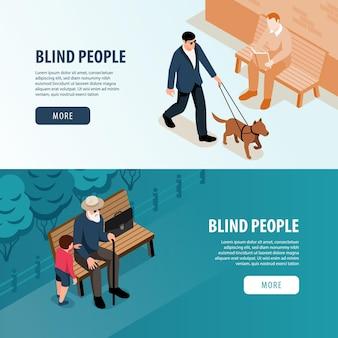 Osoby niewidome na zewnątrz 2 izometryczne poziome banery internetowe z pomocą wnuków i baner na spacer psa przewodnika