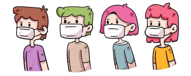 Osoby noszące maskę covid-19 ilustracji