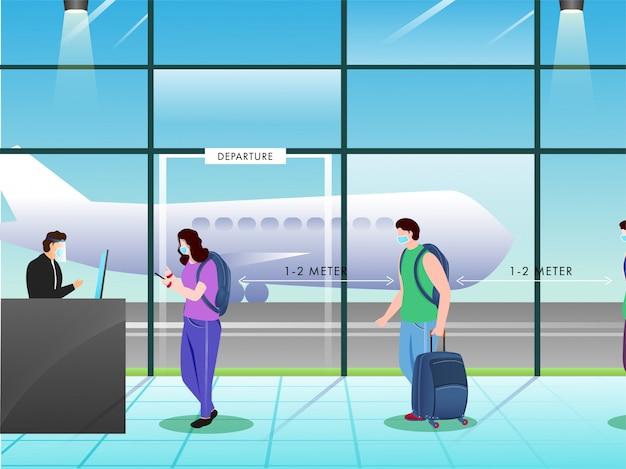 Osoby noszące maskę medyczną w kolejce utrzymują dystans społeczny w odległości 1,2 metra przed kasą wyjazdu, aby zapobiec wirusowi corona.