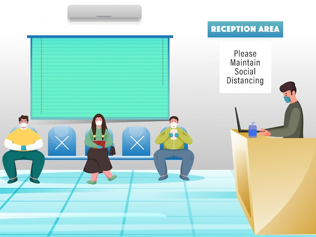 Osoby noszące maskę ochronną siedzą na krześle, zachowując dystans między ludźmi przed recepcją. unikaj koronawirusa.