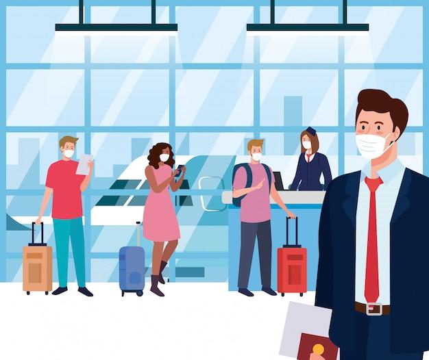 Osoby noszące maskę ochronną w terminalu lotniska, podróżujące samolotem podczas pandemii koronawirusa, profilaktyka 19