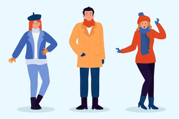 Osoby noszące przytulne zimowe ubrania