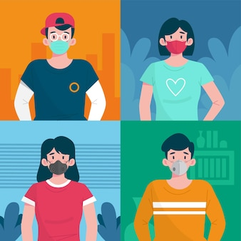 Osoby noszące różne typy masek na twarz