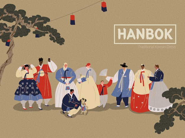 Osoby noszące tradycyjne koreańskie ubrania