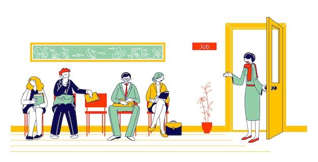 Osoby oczekujące na rozmowę kwalifikacyjną siedzą w holu biura na krzesłach. kandydaci z dokumentami cv zatrudniający pracę. płaskie ilustracja kreskówka