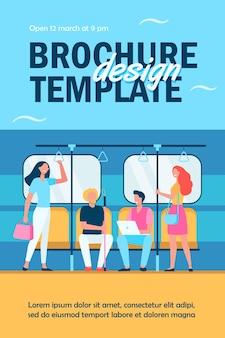 Osoby podróżujące metrem lub szablonem ulotki metra