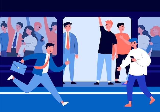 Osoby podróżujące pociągiem metra.