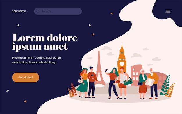 Osoby podróżujące, spacerujące po słynnych zabytkach miasta, robiące zdjęcia lub selfie, korzystające z papierowej mapy. ilustracja wektorowa dla turystyki, przewodnik po europie, koncepcja wakacje