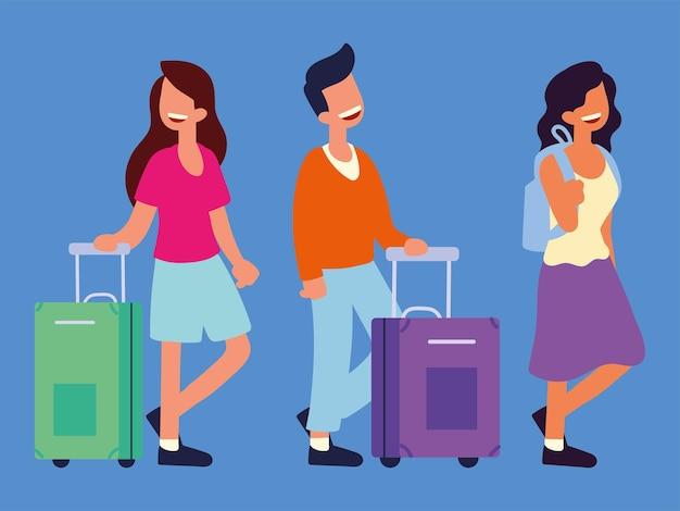 Osoby podróżujące z torbami