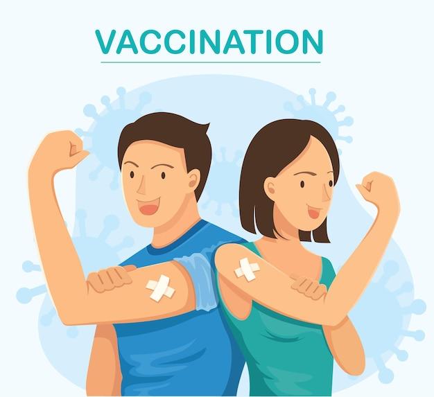 Osoby pokazujące zaszczepione