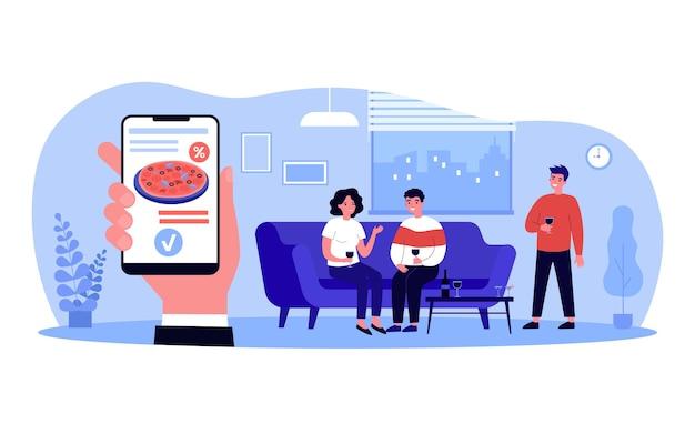 Osoby posiadające imprezę zamawiającą pizzę online. uśmiechnięci przyjaciele relaksujący kupowanie włoskiego jedzenia z aplikacji menu restauracji w smartfonie. ilustracja wektorowa fla. koncepcja uroczystości.