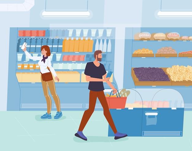Osoby posiadające smartfon robią zakupy w sklepie spożywczym.