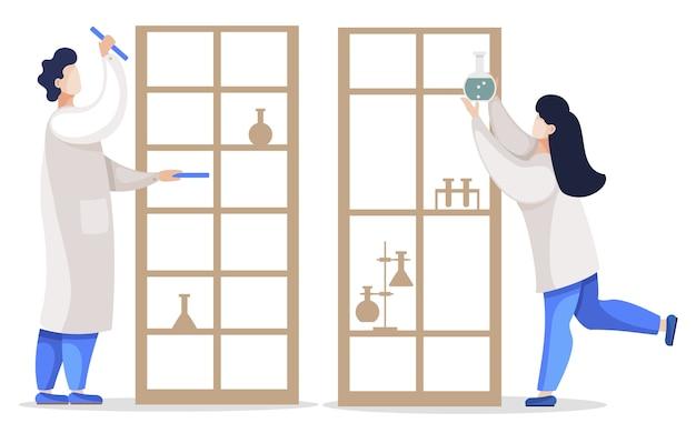 Osoby pracujące jako chemicy lub naukowcy.