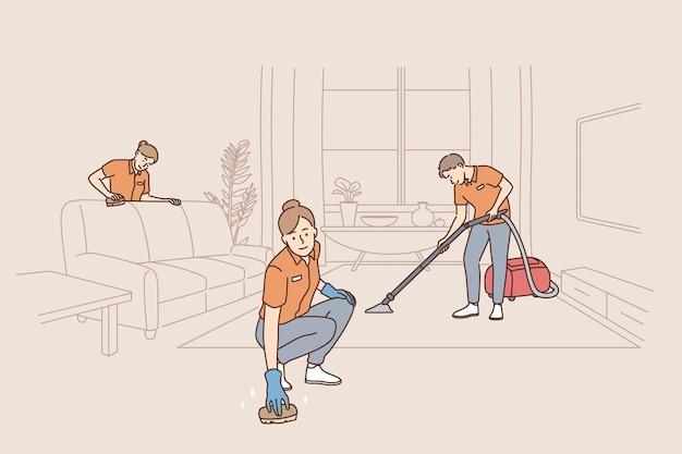Osoby pracujące jako sprzątaczki w koncepcji usług