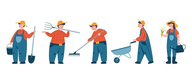 Osoby pracujące na zestawie ramek. rolnicy pracujący na polu z widłami i łopatą. mieszka na wsi. płaskie ilustracji wektorowych na białym tle