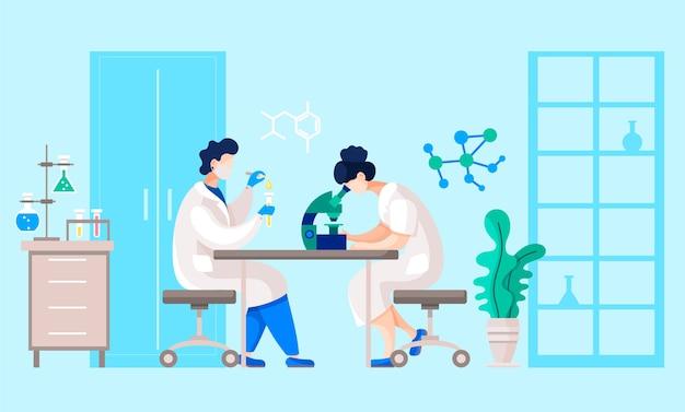 Osoby pracujące nad eksperymentem lub analizą w laboratorium badawczym.