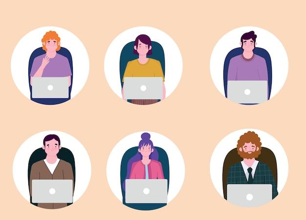 Osoby pracujące z urządzeniami przenośnymi, ilustracja charakter pracy ludzi