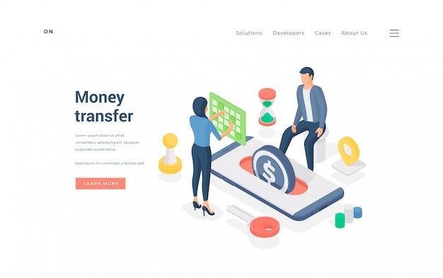 Osoby przesyłające pieniądze za pośrednictwem aplikacji na smartfony. izometryczny mężczyzna i kobieta wykonujący transakcje pieniężne, korzystając z wygodnej aplikacji na smartfonie na banerze witryny