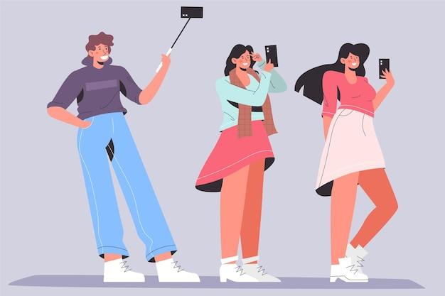 Osoby robiące selfie telefonem