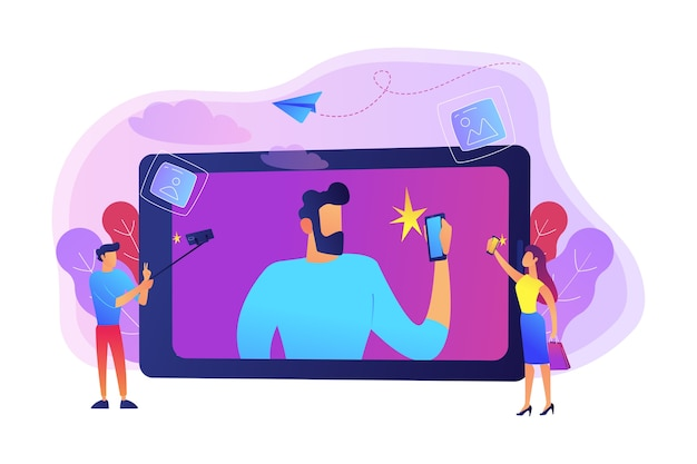 Osoby robiące selfie ze smartfonami i ilustracją kijem do selfie