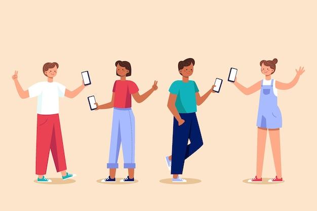 Osoby robiące zdjęcia z ilustrowanym smartfonem