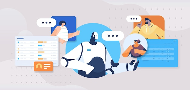 Osoby rozmawiające z robotem asystentem chatbota