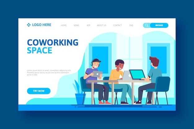 Osoby siedzące przy stole coworkingowym landing page