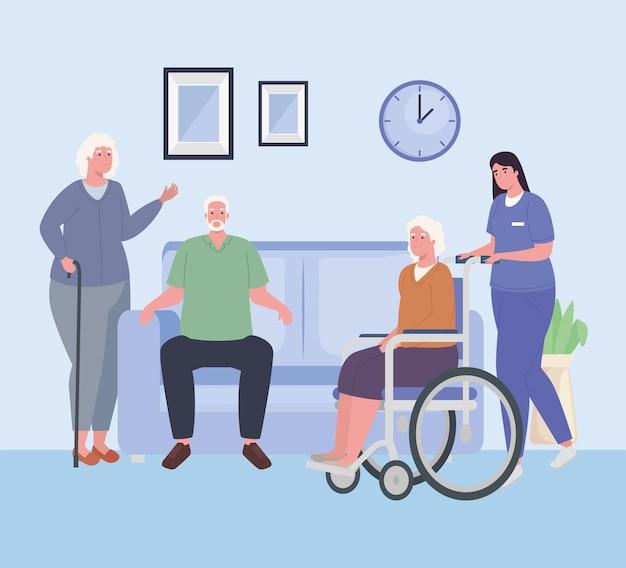 Osoby starsze i pielęgniarka