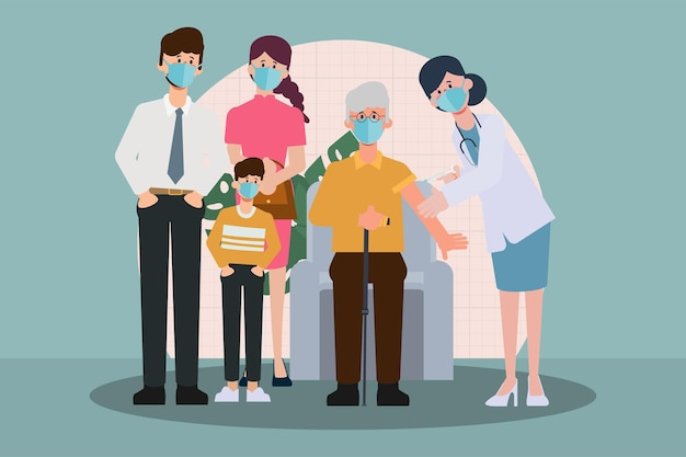 Osoby starsze otrzymują szczepionkę covid19, aby chronić się przed wirusem