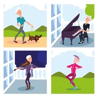 Osoby starsze zajmują się projektowaniem zajęć na świeżym powietrzu