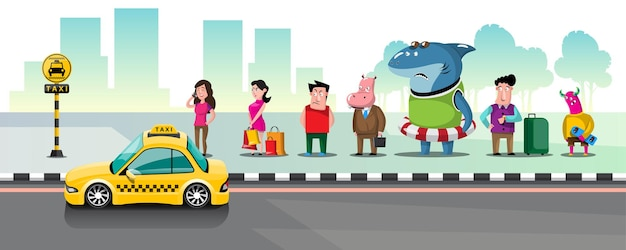 Osoby stojące w kolejce po taksówki na postoju taksówek w mieście