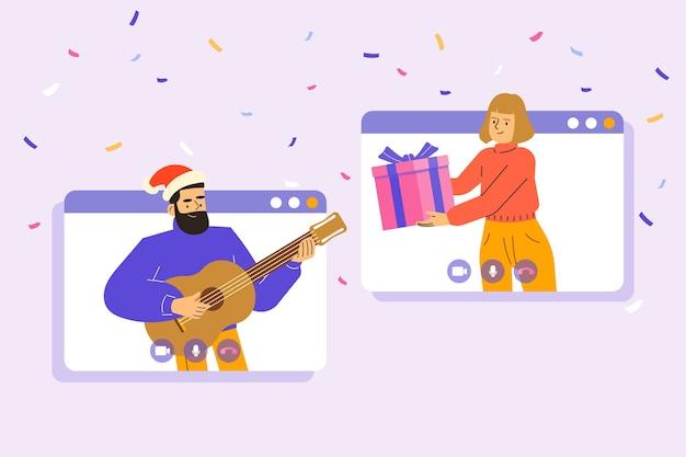Osoby świętujące święta bożego narodzenia i wręczające prezenty za pośrednictwem połączenia wideo lub konferencji internetowej w