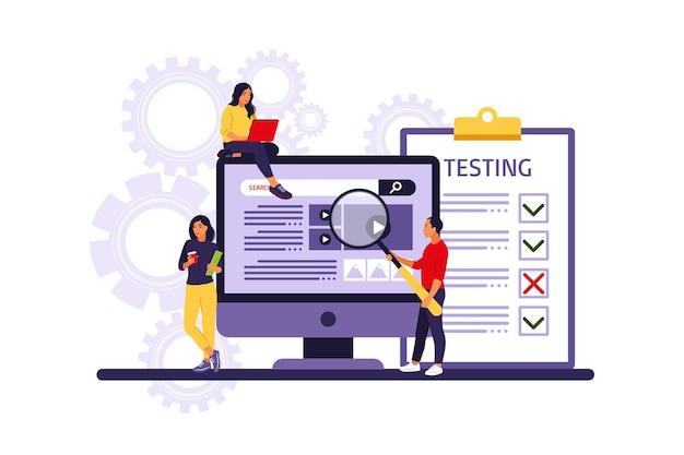 Osoby testujące oprogramowanie naprawiające błędy w sprzęcie.