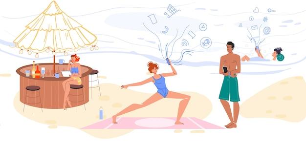 Osoby turystyczne używają telefonu komórkowego do komunikacji online. mężczyzna kobieta surfuje po internecie, nawiązywanie kontaktów, oglądanie wideo, praca, rozmowy, trening podczas odpoczynku na tropikalnym wybrzeżu. bądź podłączony na wakacjach
