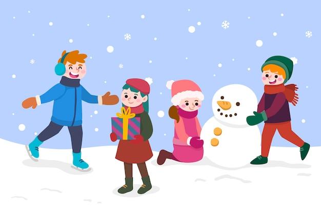 Osoby uprawiające zimowe zajęcia na świeżym powietrzu
