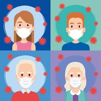 Osoby używające maski na twarz dla covid19
