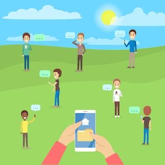 Osoby używające telefonów komórkowych do czatowania i wysyłania plików do siebie za pośrednictwem smartfona. uzależnienie od internetu. ilustracja
