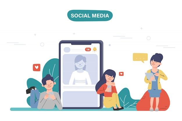 Osoby używające telefonu komórkowego do komunikacji w sieciach społecznościowych. ludzie społeczności online.