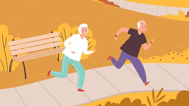 Osoby w podeszłym wieku działa w parku jesień. szczęśliwe postacie seniorów, aktywność na świeżym powietrzu jesienią. ilustracja wektorowa zdrowego stylu życia. jesienny park sportowy, styl życia biegaczy