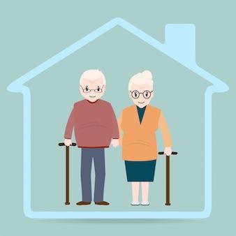 Osoby w podeszłym wieku i ikona domu, znak domu opieki