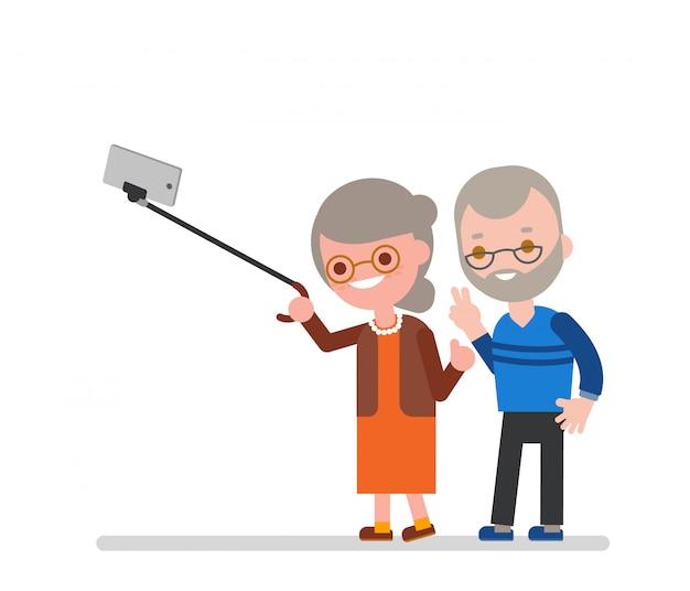 Osoby w podeszłym wieku para biorąc selfie z laską. szczęśliwy babcia dziadek bierze fotografię używać smartphone. wektorowa postać z kreskówki ilustracja.