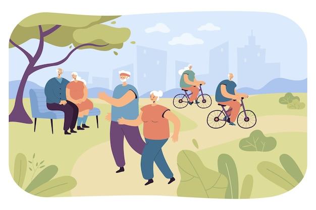 Osoby w podeszłym wieku uprawiające sport i odpoczywające na łonie natury