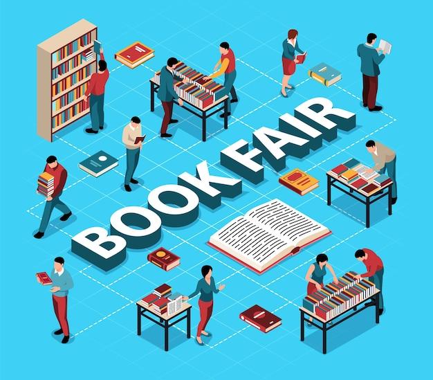 Osoby wybierające książki na izometrycznym schemacie blokowym targów literatury