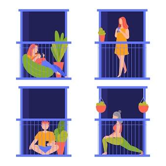 Osoby wykonujące różne czynności na balkonie