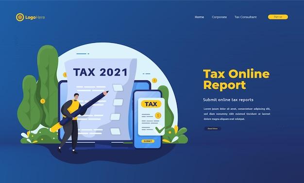 Osoby Wypełniające Formularze Podatkowe Online Landing Page Premium Wektorów