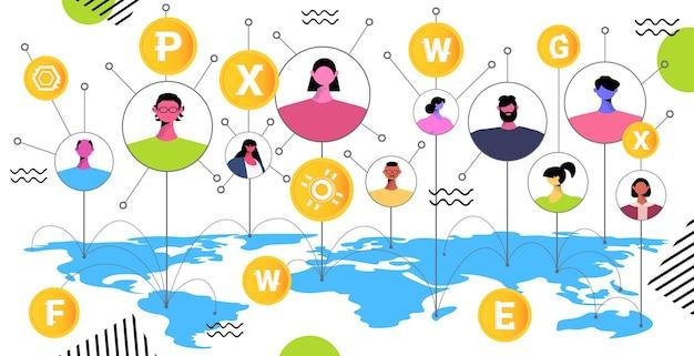 Osoby wysyłające i odbierające cyfrowe monety wydobywające wirtualne pieniądze transakcja bankowa wymiany kryptowalut