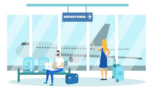 Osoby z bagażem oczekujące na start na lotnisku.