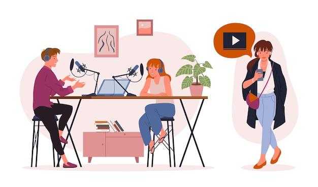 Osoby z bloggera przesyłają strumieniowo podcasty. młody mężczyzna kobieta postaci z kreskówek publikuje krótki film na vlog lub blogu internetowym, nagrywając na aparacie zawartość strumienia wideo podcast na białym tle.