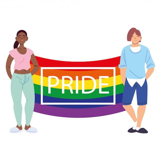Osoby z flagą dumy lgbtq, równością i prawami gejów
