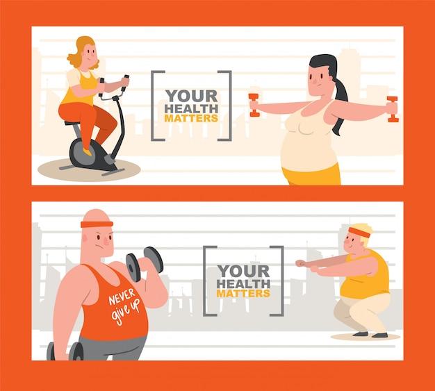 Osoby z nadwagą ćwiczą zestaw ćwiczeń. twoje zdrowie ma znaczenie.